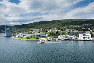Seaside view of Molde, Norway. The city is located on the northern shore of the Romsdalsfjord and is nicknamed 'The Town of Roses'.