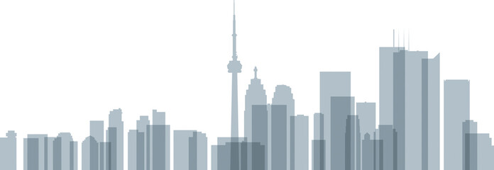 A skyline silhouette of the city of Toronto, Ontario, Canada with overlapping, transparent office towers.