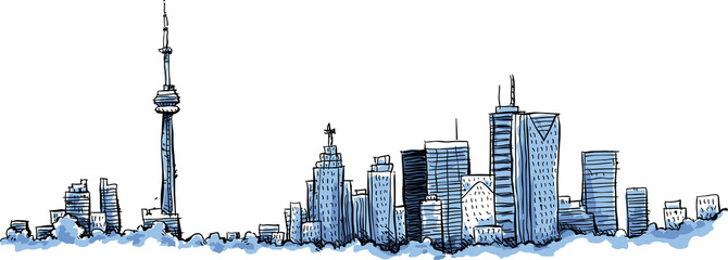 A cartoon of the skyline of the city of Toronto, Ontario, Canada.