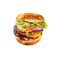 Hamburger with fresh vegetables, watercolor illustration isolated on white background.