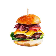 Hamburger with bacon and fresh vegetables, watercolor illustration isolated on white background.