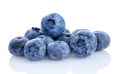 fresh organic blueberry isolated on white.