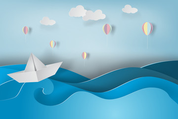 paper art of boat and balloon with origami made colorful sailing boat on the sea.vector