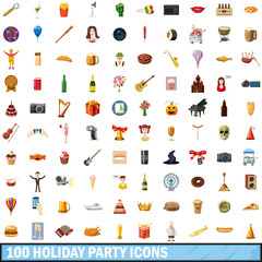 100 holiday party icons set, cartoon style
