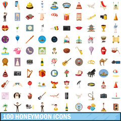 100 honeymoon icons set, cartoon style
