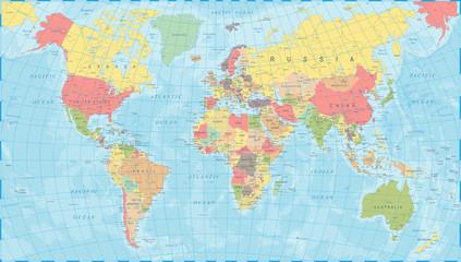 Spoed Foto op Canvas Wereldkaart Colored World Map - Vector Illustration
