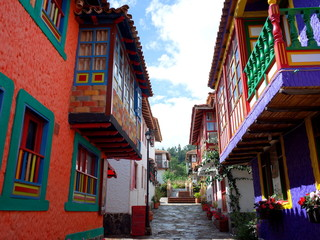 A pretty street in Pueblito Boyacense, every street represents a different village in the Colombian department of Boyaca