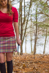 Girl in Red Shirt and Plaid Skirt with Knife 1