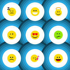 Flat Icon Gesture Set Of Winking, Descant, Angel And Other Vector Objects. Also Includes Frown, Song, Smile Elements.