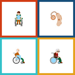 Flat Icon Cripple Set Of Audiology, Wheelchair, Disabled Person And Other Vector Objects. Also Includes Hearing, Disabled, Audiology Elements.