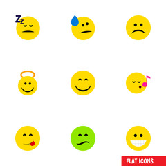 Flat Icon Face Set Of Asleep, Grin, Smile And Other Vector Objects. Also Includes Tears, Asleep, Emoji Elements.