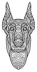 Monochrome ink drawing. Coloring book for adults. The head of a dog with pattern. Zenart. Line art design. The breed is Doberman