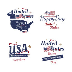 Set of elements for July 4th grunge typography. Independence day of the United States. Vintage vector sign and flag for greeting cards and banners. EPS10