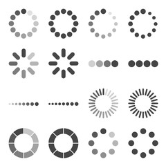Loading Bar icon set, vector symbol in outline flat style isolated on white background.