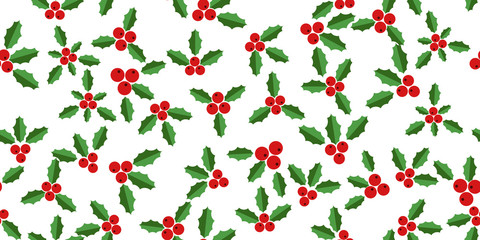 White background with hollyberries
