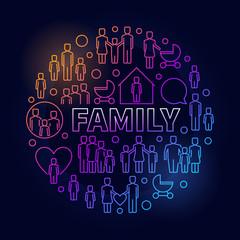 Family bright round illustration