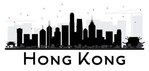 Hong Kong City skyline black and white silhouette.