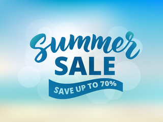 Summer sale banner design template. Abstract beach background, s