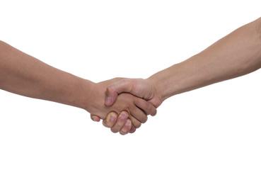 Shake hands isolated on white background.