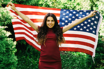 girl with a US flag