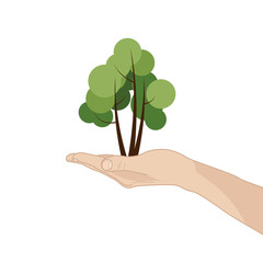 An opened palm with a tree. Concept illustration on a white background