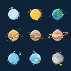 Planet in solar system with cartoon and outline