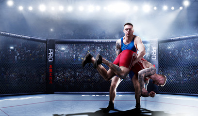 MMA fighters on 3d ring in lights