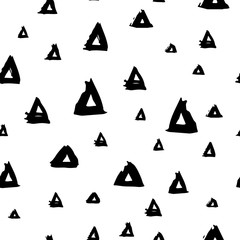 Vector seamless pattern with brush triangles Black color on white background. Hand painted grange texture. Ink geometric elements. Fashion modern style. Endless fabric print.