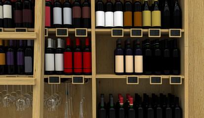 Espositore vini senza etichetta, enoteca, personalizzabile