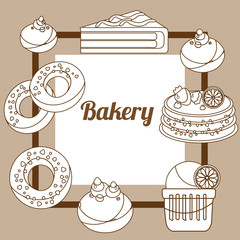 Bakery signboard. Pastry around an inscription in a frame