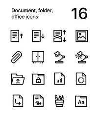 Document, folder, office icons for web and mobile design pack 2
