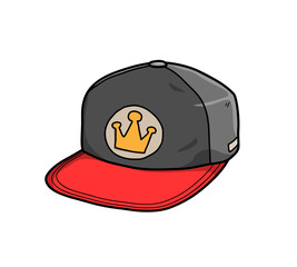 Snapback Hat, a hand drawn vector illustration of a snapback hat.
