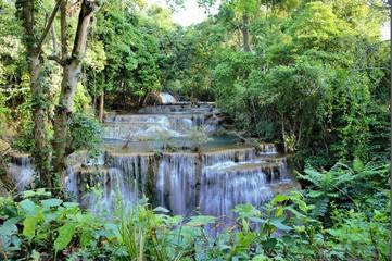 Huay Mae Khamin Waterfall,  a beautiful waterfall in Kanchanaburi province,thailand