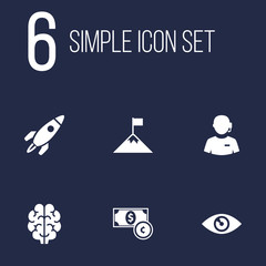 Set Of 6 Startup Icons Set.Collection Of Intelligence, Currency, Achievement And Other Elements.