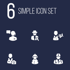 Set Of 6 Professions Icons Set.Collection Of Medic, Cameraman, Journalist And Other Elements.