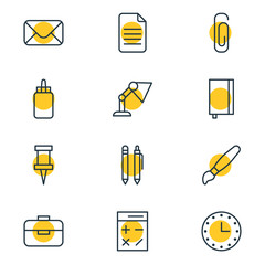 Vector Illustration Of 12 Instruments Icons. Editable Pack Of Paperclip, Pencil, Portfolio And Other Elements.