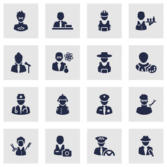 Set Of 16 Job Icons Set.Collection Of Planner, Cameraman, Scholarly And Other Elements.