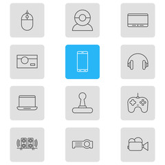 Vector Illustration Of 12 Accessory Icons. Editable Pack Of Loudspeaker, Headset, Joypad And Other Elements.