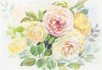 Watercolor painting realistic flowers of roses flowers