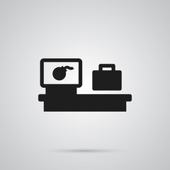Isolated Baggage Scanner Icon Symbol On Clean Background. Vector Luggage Check Element In Trendy Style.
