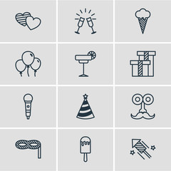 Vector Illustration Of 12 Party Icons. Editable Pack Of Decoration, Man Style, Goblet And Other Elements.
