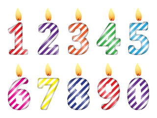 set of numbers in the form of party candles