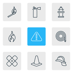 Vector Illustration Of 9 Necessity Icons. Editable Pack Of Exclamation, Hosepipe, Taper And Other Elements.