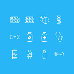 Vector Illustration Of 12 Medicine Icons. Editable Pack Of Aspirin, Medicine, Phone Monitor And Other Elements.