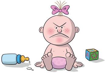Illustration of newborn baby angry