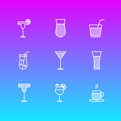 Vector Illustration Of 9 Beverage Icons. Editable Pack Of Lemonade, Glass, Cocktail And Other Elements.