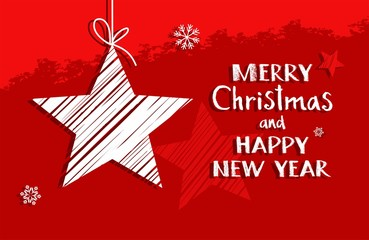 Christmas card with star, red, vector. On a red background, white star and Christmas greetings in English. Illustration Christmas card.
