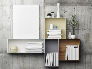 White mock up poster on bookshelf, 3d illustration