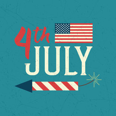 4th of July design poster. Independence day celebration. United Stated independence day greeting card.