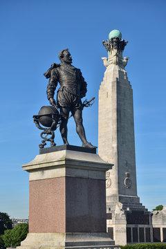 Statue von Sir Francis Drake in Plymouth | Großbritannien